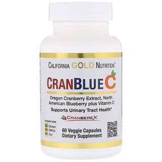 California Gold Nutrition, CranBlue C,Cranberex,泌尿系統健康, 60 粒素食膠囊