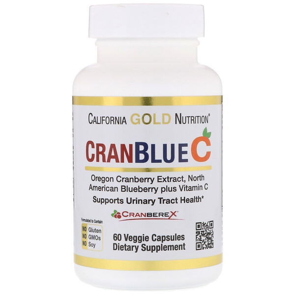 California Gold Nutrition, CranBlueC, клюква и голубика с витамином C, 60 растительных капсул
