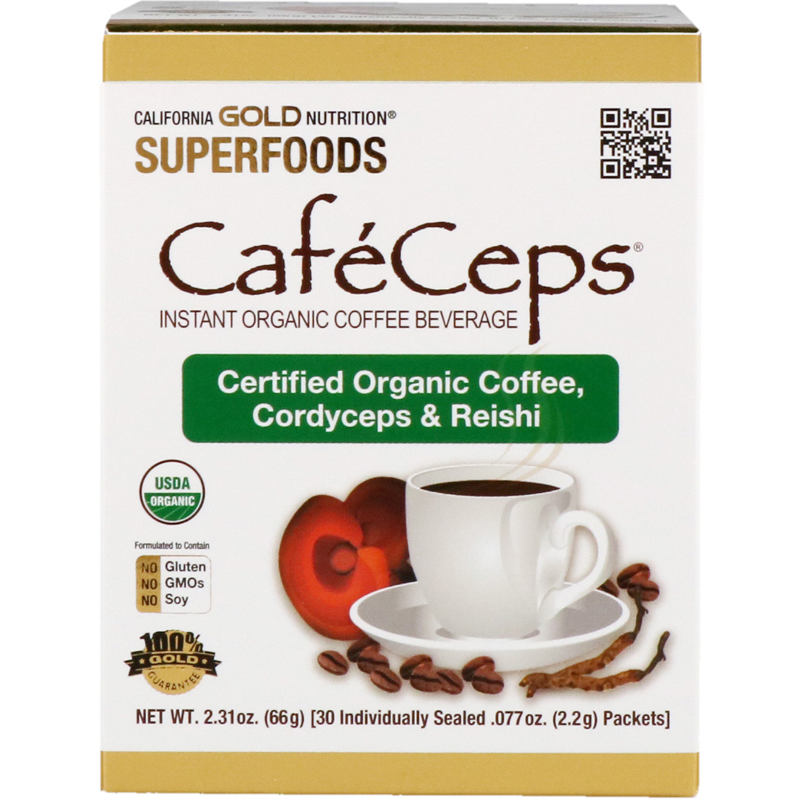 California Gold Nutrition, CafeCeps, Certified Organic Instant Coffee with  Cordyceps and Reishi Mushroom Powder, 30 Packets,  077 oz (2 2 g) Each