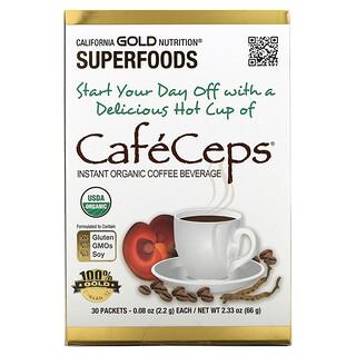 California Gold Nutrition, CafeCeps، قهوة عضوية سريعة التحضير مع فطر الريشي والكورديسيبس، 30 كيس، 077. أونصة (2.2 جم) لكل كيس