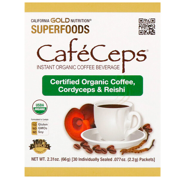 California Gold Nutrition, CafeCeps, Organic Instant Coffee with Cordyceps and Reishi Mushroom, 30 Packets, .077 oz (2.2 g) Each
