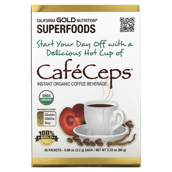 CafeCeps 有机速溶咖啡,有机认可,含虫草和灵芝,30 包,每包 0.077 盎司(2.2 克)