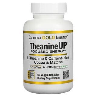 California Gold Nutrition, TheanineUP, Concentración y energía, L-teanina y cafeína, 60cápsulas vegetales