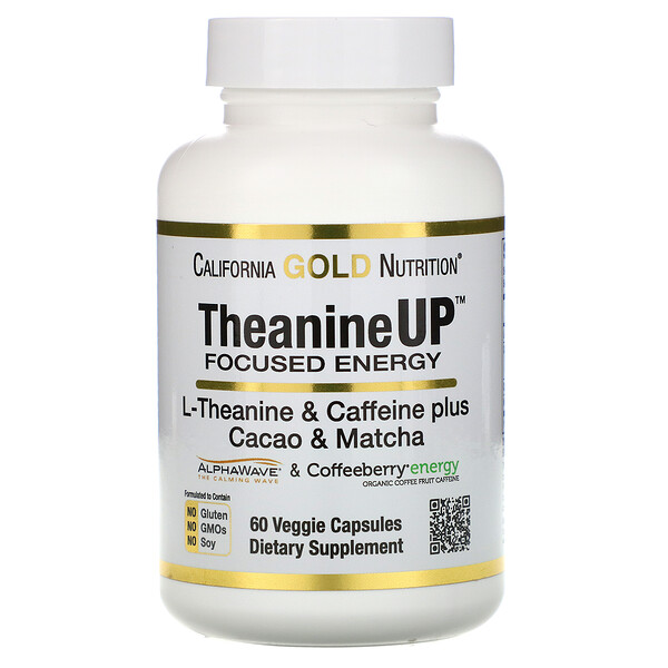 TheanineUP Focused Energy, L-Theanine & Caffeine, 60 Veggie Capsules