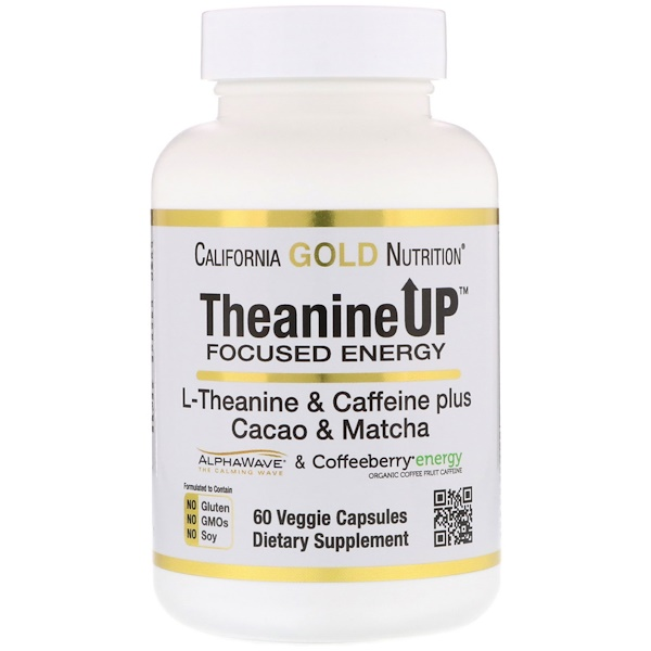 California Gold Nutrition, TheanineUP Focused Energy, L-Theanin & Koffein, 60 vegetarische Kapseln