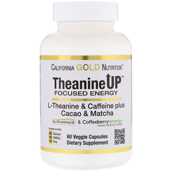 California Gold Nutrition, TheanineUP Focused Energy, L-Theanine & Caffeine, 60 Veggie Capsules