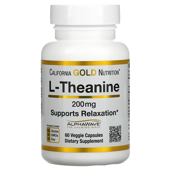 California Gold Nutrition, AlphaWave, L-теанин, поддерживает расслабление и спокойную концентрацию, 200мг, 60растительных капсул