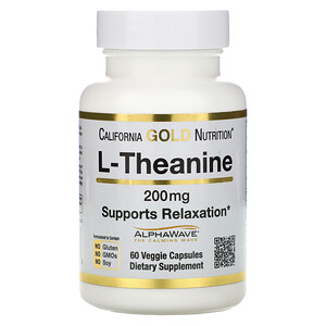 California Gold Nutrition, L-Theanine, AlphaWave, Supports Relaxation, Calm Focus, 200 mg, 60 Veggie Capsules отзывы покупателей