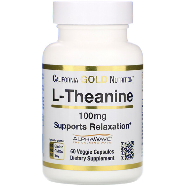 California Gold Nutrition, L-Theanine, AlphaWave, Supports Relaxation, Calm Focus, 100 mg, 60 Veggie Capsules