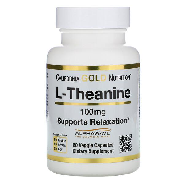 California Gold Nutrition, L-테아닌, 알파웨이브(AlphaWave), 긴장 완화 지원, 집중력 개선, 100mg, 식물성 캡슐 60정