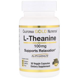 California Gold Nutrition, L-テアニン、AlphaWave、リラクゼーションをサポート、落ち着いたフォーカス、100mg、ベジカプセル30個