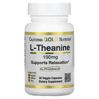 California Gold Nutrition, L-Theanine, AlphaWave, Supports Relaxation, 100 mg, 30 Veggie Capsules