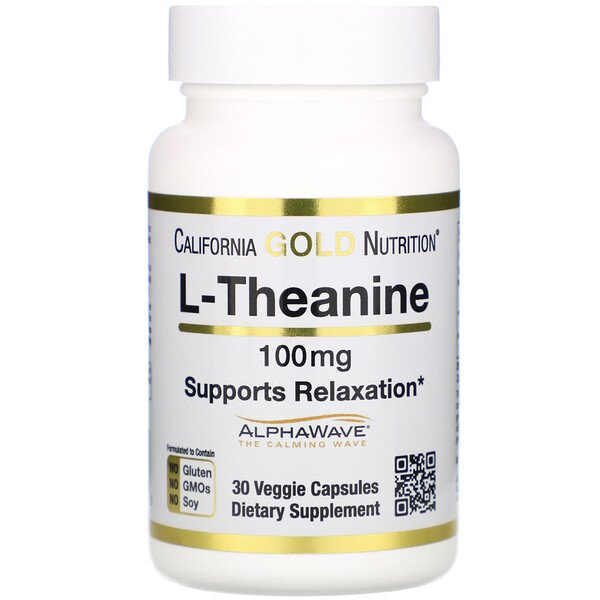California Gold Nutrition, L-Theanine, AlphaWave, Supports Relaxation, Calm Focus, 100 mg, 30 Veggie Capsules