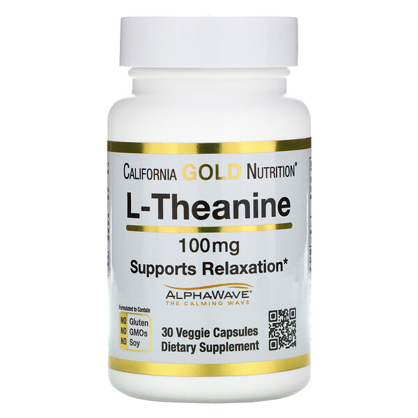 L-Theanine, AlphaWave, Supports Relaxation, Calm Focus, 100 mg, 30 Veggie Capsules