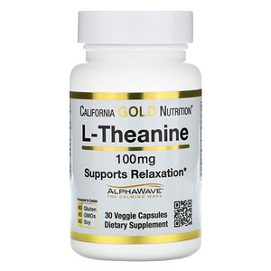 California Gold Nutrition, L-Theanine, AlphaWave, Supports Relaxation, Calm Focus, 100 mg, 30 Veggie Capsules отзывы покупателей