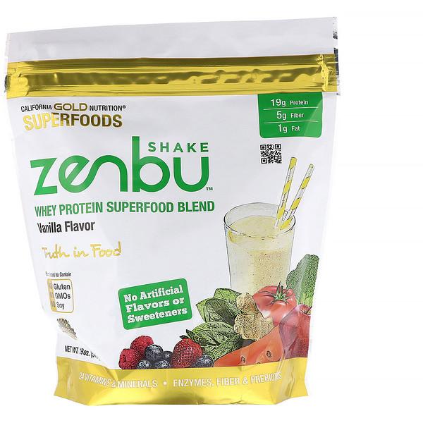 California Gold Nutrition, Zenbu Shake, Whey Protein Superfood Blend, Vanilla Flavor, 19 oz (540 g)