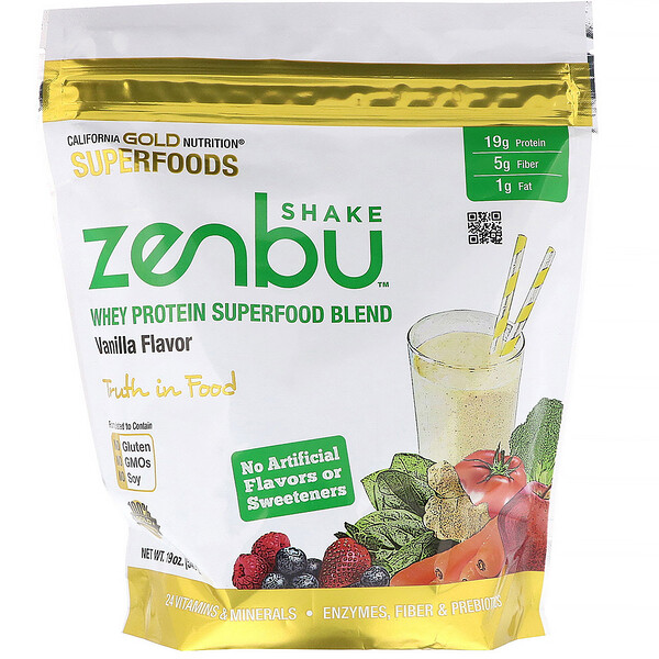 California Gold Nutrition, Zenbu Shake ، مزيج بروتين مصل اللبن الفائق ، نكهة الفانيليا ، 19 أونصة (540 جم)