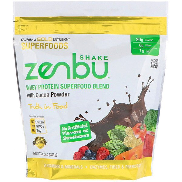 California Gold Nutrition, Zenbu Shake, Whey Protein Superfood Blend with Cocoa Powder, 1.3 lbs (585 g) (Discontinued Item)