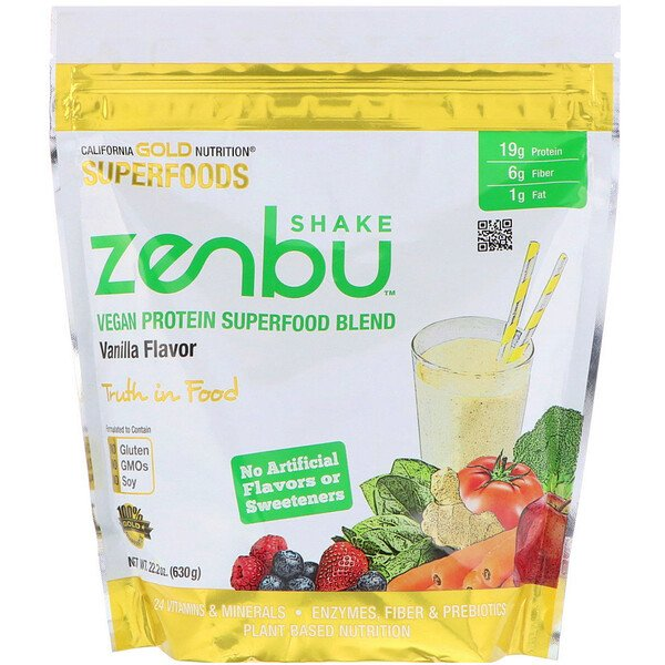 California Gold Nutrition, Zenbu Shake, Vegan Protein Superfood Blend, Vanilla Flavor, 1.4 lbs (630 g)