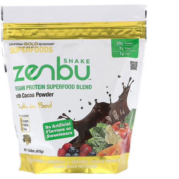 California Gold Nutrition, Zenbu Shake, Vegan Protein Superfood Blend with Cocoa Powder, 1.48 lbs (675 g)