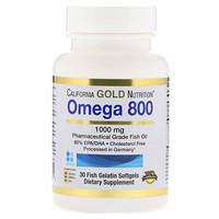 Омега 800, Рыбий жир фармацевтического класса, 80% EPA / DHA, Триглицеридная форма, Немецкая обработка, Без холестерина, 1000 мг, 30 рыбных желатиновых мягких гелей - фото