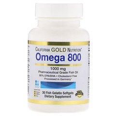 California Gold Nutrition, Омега 800, Рыбий жир фармацевтического класса, 80% EPA / DHA, Триглицеридная форма, Немецкая обработка, Без холестерина, 1000 мг, 30 рыбных желатиновых мягких гелей