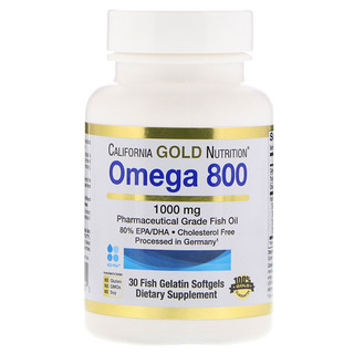 California Gold Nutrition, Omega 800, Pharmaceutical Grade Fish Oil, 80% EPA/DHA, Triglyceride Form, German Processed, Cholesterol Free, 1000 mg, 30 Fish Gelatin Softgels