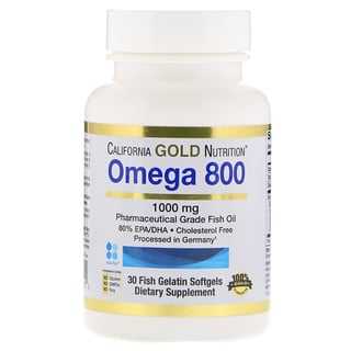 California Gold Nutrition, Omega 800 by Madre Labs, Pharmaceutical Grade Fish Oil, 80% EPA/DHA, Triglyceride Form, 1000 mg, 30 Fish Gelatin Softgels