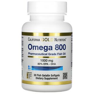 California Gold Nutrition, омега800, рыбий жир фармацевтической степени чистоты, 80% ЭПК и ДГК, 1000мг, 30капсул из рыбьего желатина