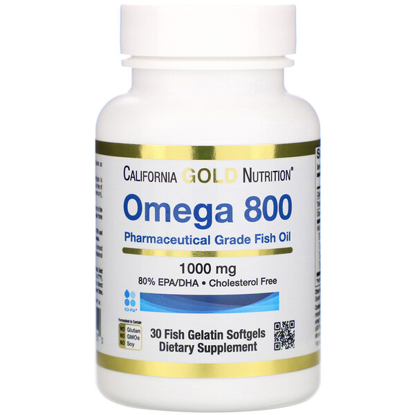 Omega 800 by Madre Labs, Pharmaceutical Grade Fish Oil, 80% EPA/DHA, Triglyceride Form, 1,000 mg, 30 Fish Gelatin Softgels