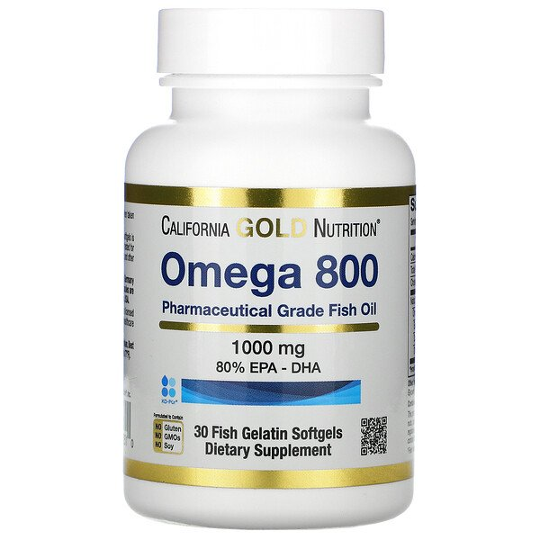 Omega 800 Pharmaceutical Grade Fish Oil, 80% EPA/DHA, 1,000 mg, 30 Fish Gelatin Softgels