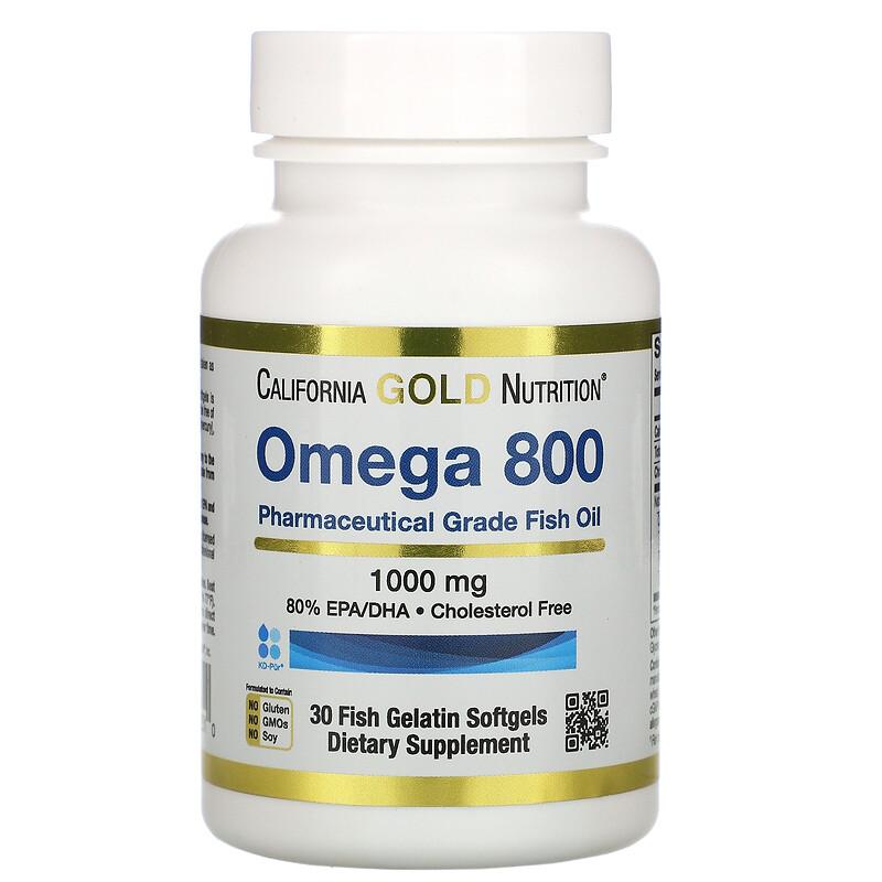 California Gold Nutrition, Madre Labs 歐米伽 800 專用級魚油魚明膠軟膠囊,含 80% EPA/DHA(三酸甘油酯),1,000 毫克,30 粒魚明膠軟膠囊