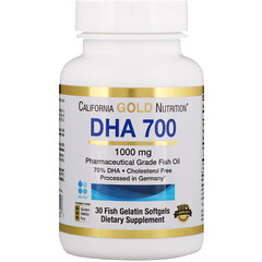 California Gold Nutrition, DHA 700 Fish Oil, Pharmaceutical Grade, 1000 mg, 30 Fish Gelatin Softgels