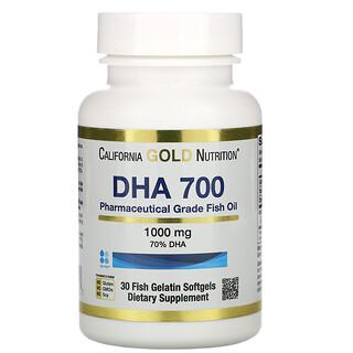 California Gold Nutrition, DHA 700 Fish Oil, Pharmaceutical Grade, 1,000 mg, 30 Fish Gelatin Softgels