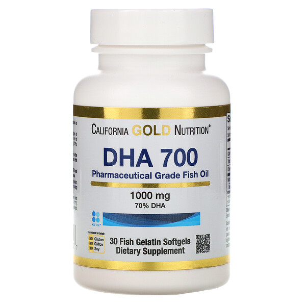 DHA 700 Fish Oil, Pharmaceutical Grade, 1,000 mg, 30 Fish Gelatin Softgels