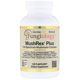 California Gold Nutrition, Fungiology,MushRex Plus,全譜蘑菇複合物,有機認證,Immune Assist™微米,120顆植物膠囊