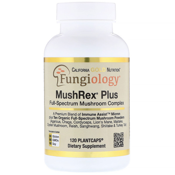 California Gold Nutrition, Fungiology, MushRex Plus, Full-Spectrum Mushroom Complex, Certified Organic, Immune Assist™ Micron, 120 Plantcaps