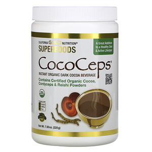 California Gold Nutrition, SUPERFOODS — CocoCeps, Organic Cocoa, Cordyceps & Reishi, 7.93 oz (225 g) отзывы покупателей