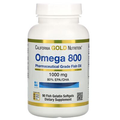 California Gold Nutrition омега800, рыбий жир фармацевтической степени чистоты, 80% ЭПК/ДГК, в форме триглицеридов, 1000мг, 90рыбно-желатиновых капсул