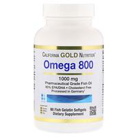 Омега 800, Рыбий жир фармацевтического класса, 80% EPA / DHA, Триглицеридная форма, Немецкая обработка, Без холестерина, 1000 мг, 90 рыбных желатиновых мягких гелей - фото