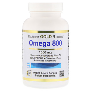 California Gold Nutrition, Omega 800, Pharmaceutical Grade Fish Oil, 80% EPA/DHA, Triglyceride Form, German Processed, Cholesterol Free, 1000 mg, 90 Fish Gelatin Softgels