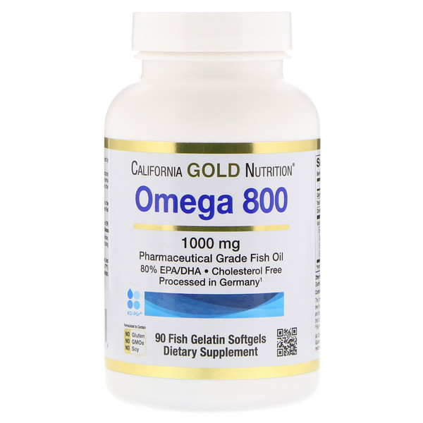 California Gold Nutrition, Omega 800 by Madre Labs, Pharmaceutical Grade Fish Oil, 80% EPA/DHA, Triglyceride Form, 1000 mg, 90 Fish Gelatin Softgels