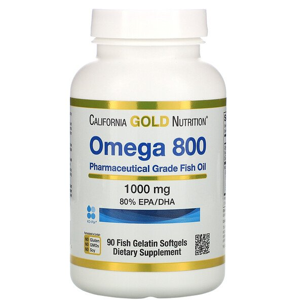 California Gold Nutrition, Omega 800 Pharmaceutical Grade Fish Oil, 80% EPA/DHA, Triglyceride Form, 1000 mg, 90 Fish Gelatin Softgels