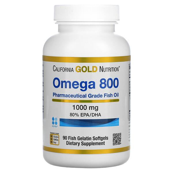 歐米伽 800 醫級魚油,含 80% EPA/DHA,甘油三酸酯,1000 毫克,90 粒魚明膠軟凝膠