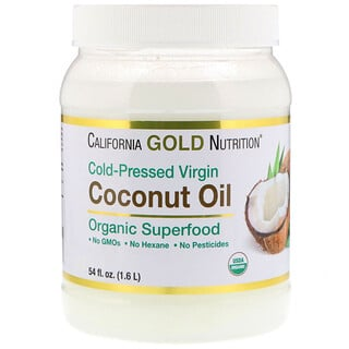 California Gold Nutrition, Organic Virgin Coconut Oil, Superfood, Cold Pressed, Unrefined, 54 fl oz (1.6 L)