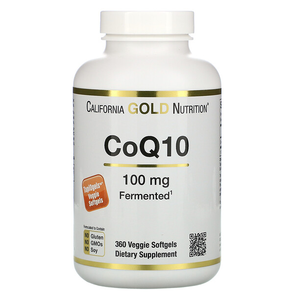 California Gold Nutrition, CoQ10, 100 mg, 360 cápsulas blandas vegetales