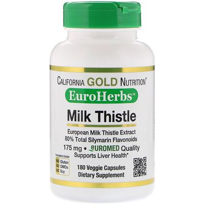 California Gold Nutrition Экстракт расторопши, 80% силимарина, EuroHerbs, 180 вегетарианских капсул