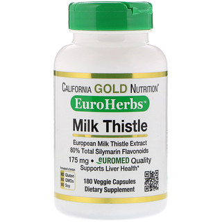 California Gold Nutrition, Milk Thistle Extract, EuroHerbs, Clinical Strength, 180 Veggie Capsules