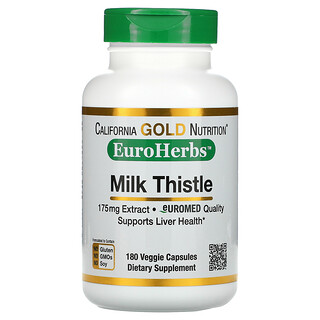 California Gold Nutrition, Milk Thistle Extract, EuroHerbs, European Quality, 175 mg, 180 Veggie Capsules