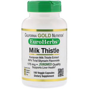 California Gold Nutrition, Milk Thistle Extract, 80% Silymarin, EuroHerbs, Clinical Strength, 180 Veggie Capsules отзывы